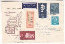Allemagne - République Démocratique - Lettre Recom De 1956 - Oblit Dresden - Jeux Olympiques - Carl Zeiss Jena - Briefe U. Dokumente