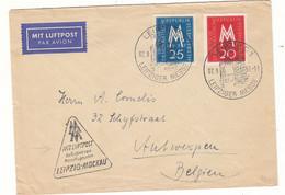 Allemagne - République Démocratique - Lettre De 1957 - Oblit Leipzig - Vol Leipzig Mockau Vers Anvers - Briefe U. Dokumente