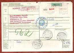 Paketkarte, Freistempel, Naestved Ueber Flensburg Velbert Nach Heiligenhaus 1973 (5385) - Briefe U. Dokumente