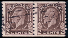 951 Canada 1933 2c Brown George V Roulette Coil Paire VF (336) - Used Stamps
