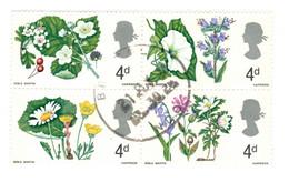 Royal Mail : Bloc De 4 Timbres Oblitérés : Thème Fleur - Used Stamps