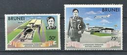 264 BRUNEI 1974 - Yvert 190/91 - Aeroport Sultant Uniforme Aerogare - Neuf ** (MNH) Sans Trace De Charniere - Brunei (...-1984)