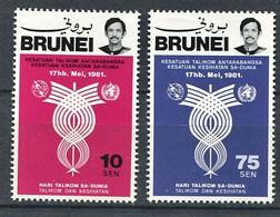 264 BRUNEI 1981 - Yvert 262/63 - Embleme UIT Et OMS - Neuf ** (MNH) Sans Trace De Charniere - Brunei (...-1984)