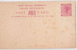 STRAITS SETTLEMENTS QUEEN VICTORIA 3 CENTS POSTAGE BRITISH MALAYSIA MALAYA POSTAL STATIONERY  POST CARD ENTIER MALAISIE - Straits Settlements