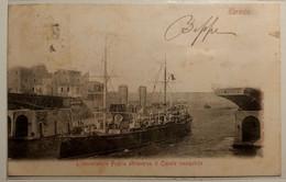 PUGLIA TARANTO L'INCROCIATORE PUGLIA ATTRAVERSA IL CANALE NAVIGABILE  Formato Piccolo - Viaggiata 1902 - Condizioni Buon - Taranto