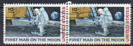 United States, 1969 - 10c First Man On The Moon, Coppia - Nr.C76 Usato° - 3a. 1961-… Used