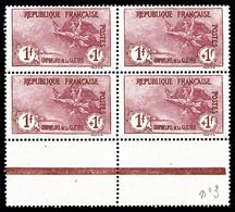 N°154, Orphelins, 1F +1F Carmin En Bloc De Quatre Bord De Feuille Avec Liseret, Fraîcheur Postale, Très Bon Centrage, SU - Unused Stamps