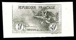 N°155, Orphelins, 5F +5F, épreuve Non Dentelée En Noir, Grande Bordure, R.R. (signé Calves/certificat)   Qualité: (*)  C - Unused Stamps