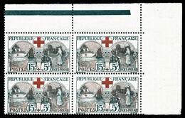 N°156, Infirmière, 15c +5c Noir Et Rouge En Bloc De Quatre Coin De Feuille, TTB (certificat)  Qualité: **  Cote: 1200 Eu - Unused Stamps