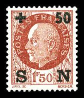 N°552d, Secours National, +50 Sur 1F50 Brun Surcharge Noire, RARE Et SUPERBE (signé Brun/certificat)  Qualité: **  Cote: - Unused Stamps