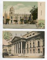 PORTUGAL LISBOA 2 Cartes Theatro De D Maria Tramway Et Place Jeronymod Couleur 1909 Timbrées     /D17  2021 - Lisboa