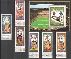AR075 1972 MANAMA OVERPRINT GOLD MUNICH FOOTBALL OLYMPIC GAMES WORLD CUP MICHEL #718A-23A BL139A 10 EURO 1SET+1BL MNH - Estate 1972: Monaco
