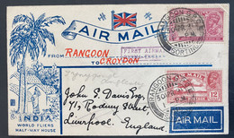 1931 Rangoon Burma India First Flight Airmail Cover To Liverpool England Stephen Smith Signed (**) Inde Indien - Sonstige