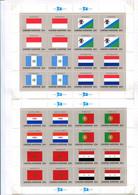 RC 21545 NATIONS UNIES NY COTE 87€ N° 547 / 562 - 4 FEUILLES DRAPEAUX SÉRIE DE INDONESIE A NATIONS UNIES NEUF ** MNH - Unused Stamps