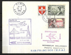 France 1960  Vol Inaugural  Paris -San Francisco 13 Mai Lufthansa - Eerste Vluchten