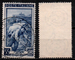 Italia Al Lavoro 55 Lire Filigrana Ruota 1 Sinistra Alta - 1946-60: Used