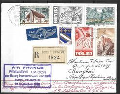 France Lettre Recommandée Du 16 09 1966   1ère Liaison  Paris - Shangaï - Eerste Vluchten