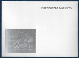 Guyana 1992 Fire Truck Dogs Chiens Trains Helicopter Police Silver S/S On Glossy Cardboard Argent MNH** Rare - Firemen