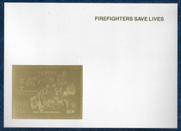 Guyana 1992 Fire Truck Dogs Chiens Trains Helicopter Police Gold S/S On Glossy Cardboard Or MNH** Rare - Firemen