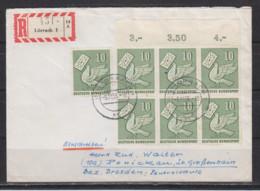 Bund R-Brief Lörrach 3.11.56 Mit 7x247 In Die DDR, Rs.Ak-o , Seltene Mehrfachfrankatur - Briefe U. Dokumente