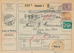 PFORZHEIM  - 1927 ,  Perfins / Firmenlochung  -  LUTZ & WEISS  -  Paketkarte Nach Vervey / CH - Briefe U. Dokumente
