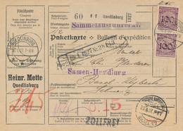 QUEDLINBURG  - 1927 ,  Perfins / Firmenlochung  -  HEINR. METTE  -  Paketkarte Nach Basel / CH - Briefe U. Dokumente