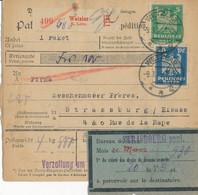WETZLAR  - 1925 ,  Perfins / Firmenlochung  -  K. LEITZ  -  Paketkarte Nach Strassburg / FR - Briefe U. Dokumente