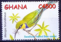 Swallow Tailed Bee Eater, Birds, Ghana 2002 MNH - Pájaros Cantores (Passeri)