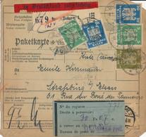 DESSAU  - 1926 ,  Perfins / Firmenlochung  -     -  Paketkarte Nach Strassburg / FR - Briefe U. Dokumente