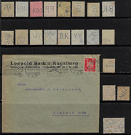 Germany 1925 Commercial Cover Leopold Bach Colonial Goods Wholesalers Augsburg To Simbach Perfin LB/A +20 Stamp Lochure - Briefe U. Dokumente