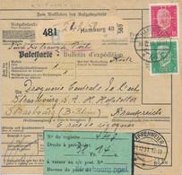 HAMBURG  - 1931 ,  Perfins / Firmenlochung  -  A. H.   -  Paketkarte Nach Strassburg / FR - Briefe U. Dokumente