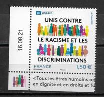 """France  Neuf ** De 2021  N° 180  -  Unesco  """"  Unis Contre Le Racisme Et Les Discréminations """" - Ungebraucht"""
