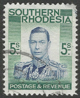 Southern Rhodesia. 1937 KGVI. 5/- Used. SG 52 - Southern Rhodesia (...-1964)