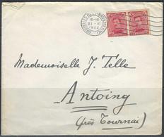 N°138 X2. 10c Karmijn - Op Brief Stempel 21/11/1922 Bruxelles >> Antoing (près Tournai) - Covers & Documents
