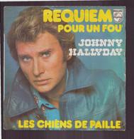 """45 T Johnny Hallyday """" Requiem Pour Un Fou + Les Chiens De Paille """" - Autres - Musique Française"""