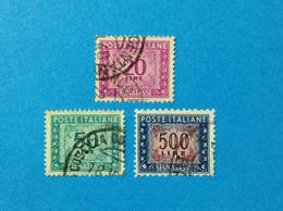 1947 ITALIA FRANCOBOLLI USATI STAMPS USED SEGNATASSE RUOTA LOTTO 3 VALORI 20 50 500 LIRE - 1946-60: Used