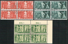 SERIE 1955 BLOCS DE 4 TIMBRES OBLITERES C/.S.B.K. Nr:216x/218x. Y&TELLIER Nr:313A/315A.MICHEL Nr:328x/330x. - Usados
