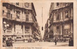 """10175 """"PALERMO - QUATTRO CANTI E CORSO VITT. EMANUELE"""" ANIMATA, AUTO. CART SPED 1937 - Palermo"""