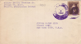 25993# PHILIPPINE ISLAND USA SURCHARGE COMMONWEALTH OVERPRINT LETTRE Obl BAGUIO 1940 NEW YORK - Philippinen