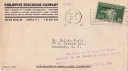 25994# PHILIPPINE ISLAND USA SURCHARGE COMMONWEALTH OVERPRINT LETTRE Obl MANILA 1941 WOODBURY NEW JERSEY - Philippinen
