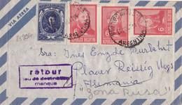 25996# ARGENTINE LETTRE PAR AVION RETOUR LIEU DE DESTINATION MANQUE Obl BUENOS AIRES ARGENTINA 1967 ALEMANIA ZONA RUSA - Lettres & Documents