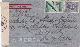 25998# ARGENTINE LETTRE PAR AVION VIA NATAL LISBONNE PORTUGAL CENSURE ALLEMANDE ARGENTINA 1942 BRUXELLES BELGIQUE - Lettres & Documents