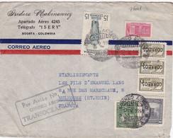 26001# COLOMBIE LETTRE POR AVION N°4 CORREO AEREO TRANSOCEANICO Obl BOGOTA 1949 COLOMBIA MULHOUSE HAUT RHIN ALSACE - Colombia