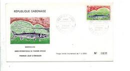 GABON FDC 1969 PÖISSON BARRACUDA - ANNEE TOURISME AFRICAIN - Gabon (1960-...)