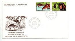 GABON FDC 1967 FAUNE CHEVROTAIN ET CHIMPANZE - Gabon (1960-...)
