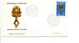 GABON FDC 1966 MASQUES ET STATUETTES - Gabon (1960-...)