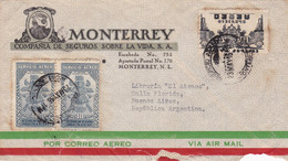 """MONTERREY"" ASSURANCE-VIE. MEXICO ENVELOPPE COMMERCIAL. CIRCULEE 1946, PAR AVION. A BUENOS AIRES ARGENTINE.- LILHU - Other"