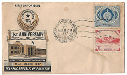 Pakistan 1957 FDC 1st Anniversary Of Islamic Republic Of Pakistan, Constituent Assembly Of Pakistan - Pakistan