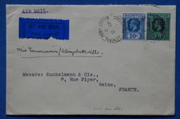 AD18 MAURITIUS  BELLE  LETTRE 1937  PAR AVION  POUR REIMS FRANCE VIA RHODESIE+MADAGASCAR  +1 R + AFFRANCH . PLAISANT - Mauritius (...-1967)