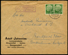 BUND 1957, Nr. 182, HEUSS, BRIEF,POSTHILFSSTPL. DANGERSTORT ÜBER LÜCHOW - Briefe U. Dokumente